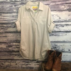 Tunic Length Button Front Blouse